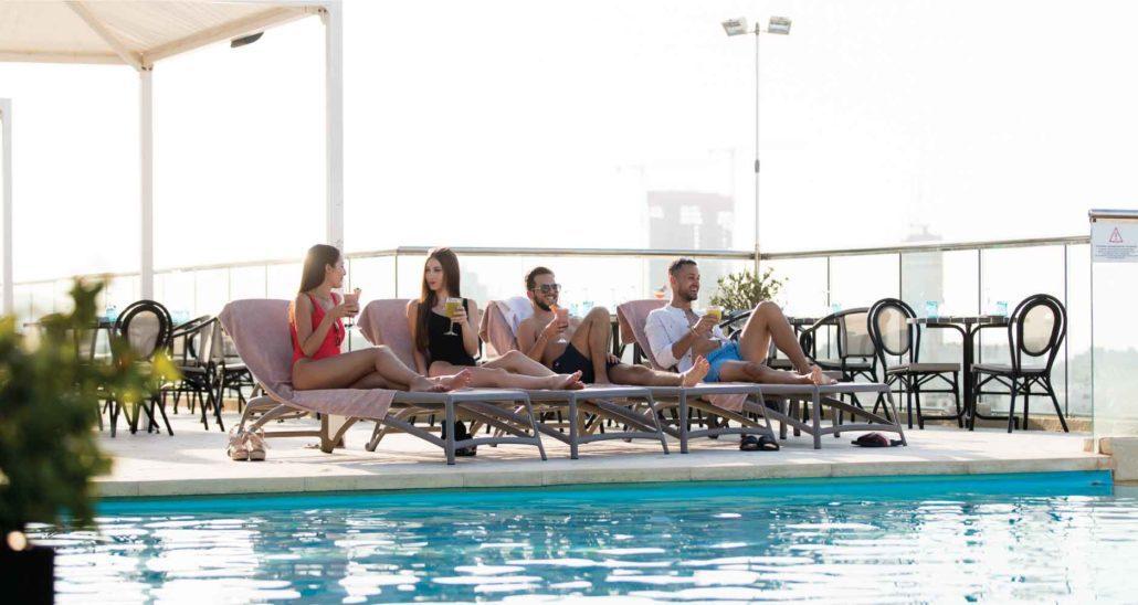 outdoor pool facilities at AX The Palace in sliema